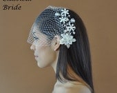 Bandeau 73 -- Veil Set w/ SILVER PEARL FLOWER Hair Comb & Ivory or White Birdcage Blusher 9 Inch Veil for wedding bridal accessory