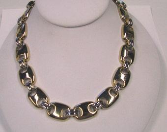 Vintage Gold tone Large Flat Link Choker Necklace, Minimalist Modernist Choker Necklace Wear or Repurpose