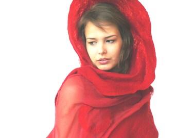 Nuno felted shawl, large scarf,  Red silk and wool shawl
