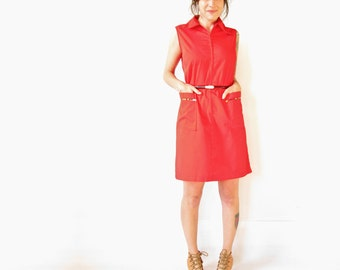 Vintage 60s Dress . Bright Red Sleeveless Zip Up Cotton Shirtdress. Size Medium
