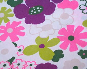 """Vintage Fabric - Pink & Purple - Flower Power - By the Yard x 44""""W - Klopman Mills - 70's - Retro - Sewing Material - Craft Supply - Yardage"""