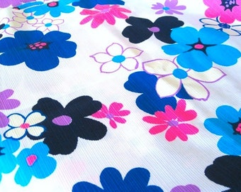 "Vintage Fabric - Big Flowers - Hot Pink & Blue - 36""L x 44""W - Wamsutta Mills - 1960's - Retro - Sewing Material - Craft Supply - Yardage"