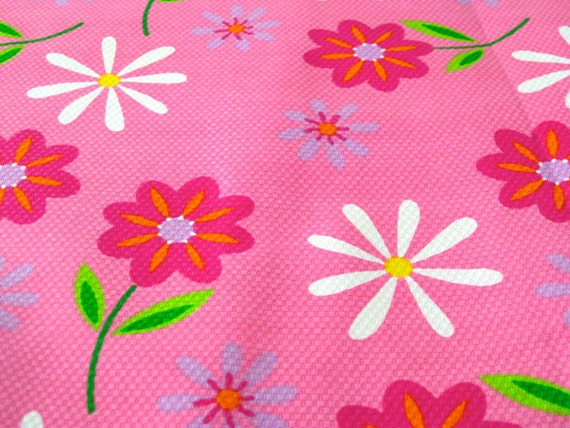 """Vintage Fabric  - Bright Pink Flowers & Daisies - By the Yard x 56""""W - 1960's - Retro Sewing Material"""