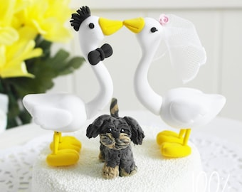 Custom Wedding Cake Topper - Kissing geese couple