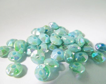 150 Vintage 6mm Faceted Iridescent Turquoise-Green Saucer Spacer Beads Bd621