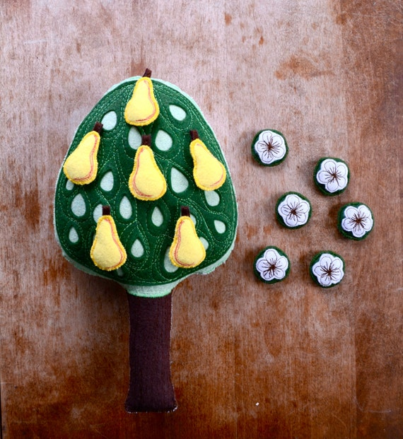 Handmade Montessori Toy. Pear Tree. Nature Table Wool Felt Counting and Sorting Work. Made to order.