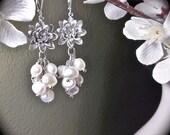 Pearl Earrings - Freshwater Pearls - Cluster Earrings - Sterling Silver leverbacks- Lotus flower - Bridal Jewelry -