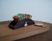 Antique bakelite matchbook holder display HARTFORD INSURANCE with stag unusual phillumeny catalin free shipping to USA