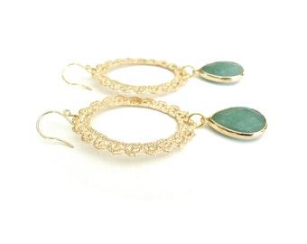 Green Dangle Earrings - Long Green & Gold Focal Large Lace Handmade Jewelry