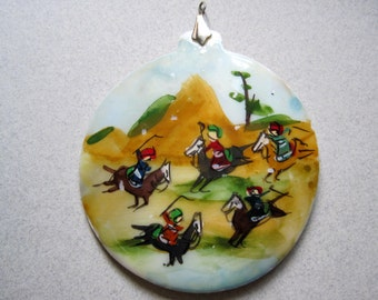 Vintgae LARGE Persian Story Pendant Polo Players Hand Painted Mother of Pearl Vintage Costume jewelry Polo Ponies Mid Eastern destash