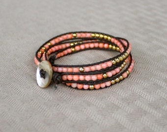 Coral Wrap Bracelet, Gold and Pink, Coral Beads Woven on Leather