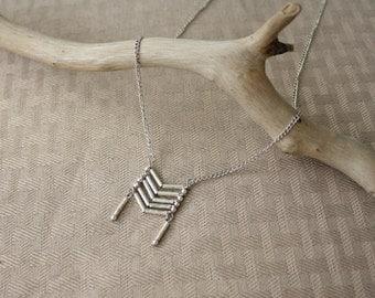 Native American Indian Breastplate Necklace, Silver Chevron