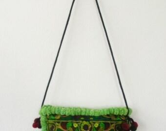 Pom Pom Purse Cross-Over Bag Fashionable Hill Tribe Fair Trade (BG811P-GB14)