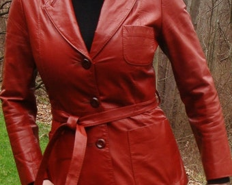 VTG Burnt Orange 70s Leather Jacket - Tie Belt Coat - Womens Size S Small. Free shipping in USA