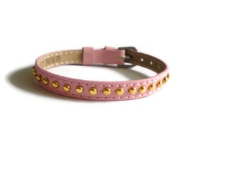 Pink Genuine Leather Bracelet -   Gold Studs - 8mm Pink Leather Strap -  Adjustable - Layering Bracelet