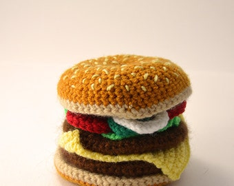 Hamburger Crochet Pattern, Burger Crochet Pattern, Hamburger Amigurumi Pattern, Amigurumi Burger Pattern, Amigurumi Hamburger Pattern