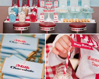 RETRO Diner Birthday Party Printable Set - Cupcake Toppers, Food and Bottle Labels, Favor Tags & More