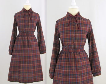 On Sale Preppy School Girl Dress - Vintage 1970s Plaid Shirt Dress in Burgundy - xSmall by St.Michael