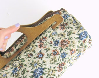 Vintage 1970s Bohemian Floral Tapestry Purse - Boho Bag