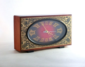 Vintage Wooden Clock from Russia, Soviet Clock, Retro clock, From 80s, Unique Golden Ornament