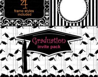 Graduation clip art digital paper, Grad invitation, Graduation Cap clip art clipart scrapbooking : p0201 v001 C