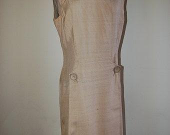 Vintage Tan Khaki Silk Day to Night Magnin Italian 100% raw Silk Mod Dress 4/6/8/M