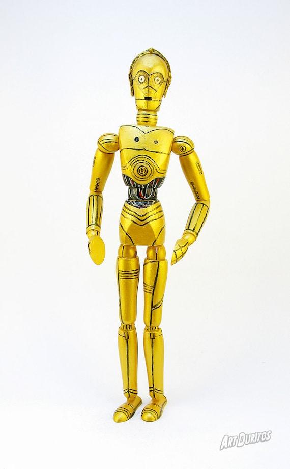 C-3PO Art Doll - Star Wars Sculpture - Unusual Art - Articulated Wooden Figure - Original Pop Art - Hand Painted