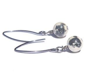 Dalmatian Jasper Long Earrings, Oxidized Leaf Earwires, Stone, Minimalist,Black Cream Earrings