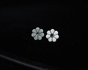 Silver Flower Studs -- Tiny Daisies, Swarovski Crystal, Silver