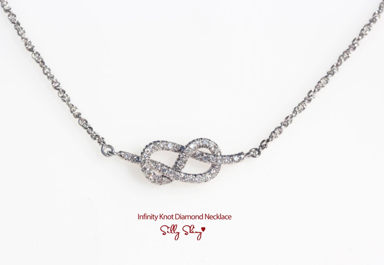 Infinity Knot Diamond Necklace 14k Gold By Sillyshinydiamonds