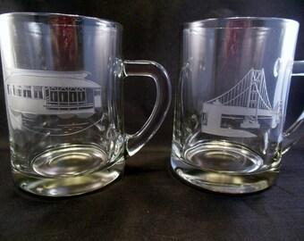 Pair of Glass Souvenir Mugs from San Francisco Golden Gate Bridge and Trolley Car