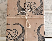 Hand Printed Sparrow Gift Wrap - Love Birds - Three Sheets - 50 x 70cms