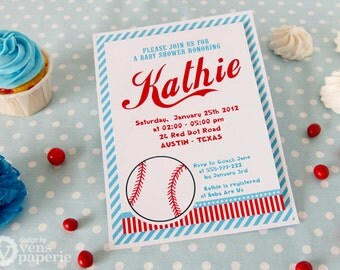 DIY PRINTABLE Invitation Card - Vintage Blue Baseball Baby Shower Invitation - BS804CA1a1