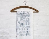 Coastal Cottages tea towel - kitchen textiles designed in Yorkshire and printed in the UK - Jessica Hogarth - surface pattern designer