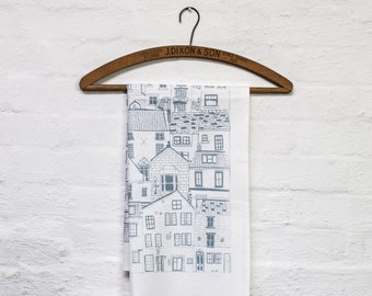 Coastal Cottages tea towel - kitchen textiles designed in Yorkshire and printed in the UK - Jessica Hogarth - patterned dishcloth