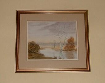 English Painting of the River at Alderholt by Greta Johnson Original Art Watercolor Landscape