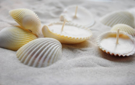 Eco-friendly Candles Scented Hand Made Seashells Candles - Set Of 24 units, Soy Wax Candles, Scented Candles Set - Beach Wedding Favor Decor