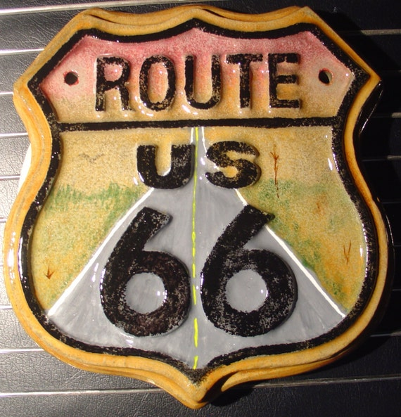 route us 66 cement plaque indoor outdoor decoration by x10son. Black Bedroom Furniture Sets. Home Design Ideas