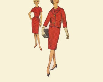Wiggle Sheath Shift Dress 1960s Mad Men Style Simplicity 4594 Sewing Pattern Business Suit Short Sleeves Cropped Jacket Bust 34
