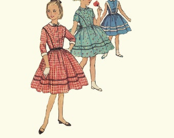 Party Tea Dress Simplicity 1950s Vintage Sewing Pattern Full Flared Skirt School Girl Fashion Rockabilly Swing Style Size 8