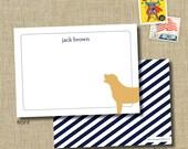 Personalized Stationery Set flat notecards-- dog. lab stationery