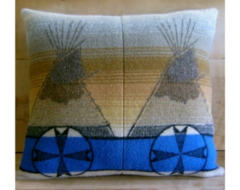 Tepee Cross Wool Pillow - Native Geometric Tribal Southwest Blue
