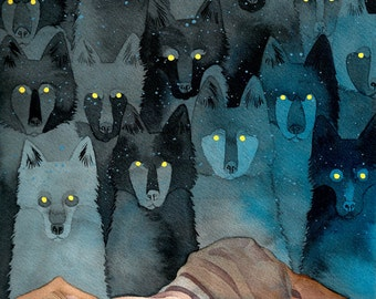 "Watercolor wolf painting 11x17"" art print of Angela Carter ""In the Company of Wolves"" inspired black and blue spirit wolf ink painting"