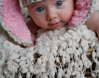 Crochet Baby Hat Easter Bunny Rabbit Ears  Photo Prop pink ears