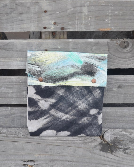 Abstract Leather Pouch - Hand Dyed Leather Pouch - Bleached Large Pouch
