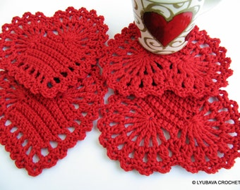 Crochet PATTERN Red Heart Coasters, DIY Crochet Gifts, Valentine's Day, Christmas Decor, Instant Download PDF Pattern No.38 Lyubava Crochet