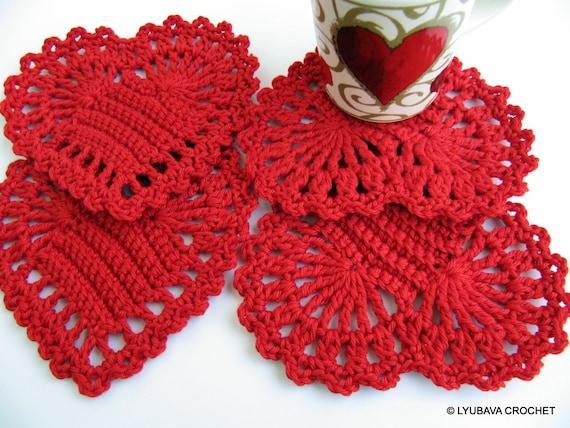 Valentine s Day Crochet Patterns : Crochet PATTERN Red Heart Coasters DIY Crochet Gifts