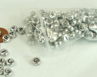 Alphabet Beads Silver Flat Round Black letters 200 pieces 7x4mm Side Drill Craft Supply letter beads