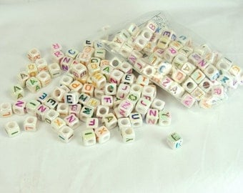 Alphabet Cube Beads Rainbow Letters Square Bead 200 pieces 6mm by 6mm Side Drill Craft Supply letter beads