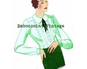 Plus Size (or any size) Vintage 1934 Blouse Pattern - PDF - Pattern No 93 Beverley